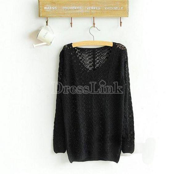 Womens Knit Knitwear Sweater Pullover Jumper Top Boat Neck Batwing Sleeve Hollow