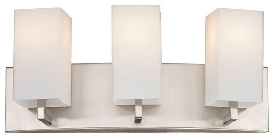 "Forecast Lighting F451636 3 Light 18"" Wide Bathroom Vanity Light from the Avenue Satin Nickel Indoor Lighting Bathroom Fixtures Vanity Light"
