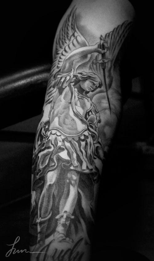 archangel sleeve tattoos - Google Search