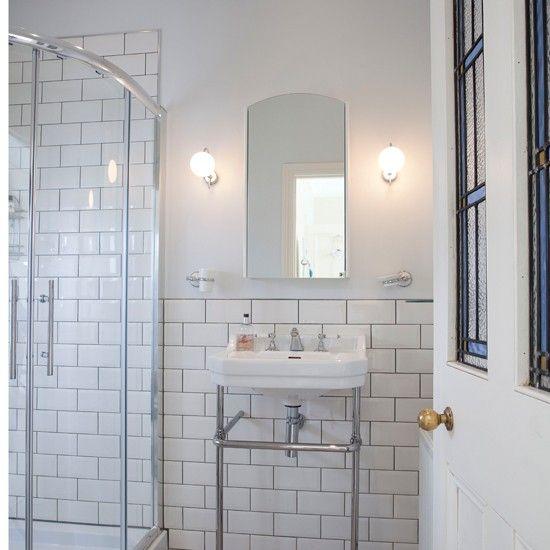 White Tiled Shower Room Bathroom Ideal Home Brick Tiles Bathroom White Bathroom Tiles Brick Tile Shower