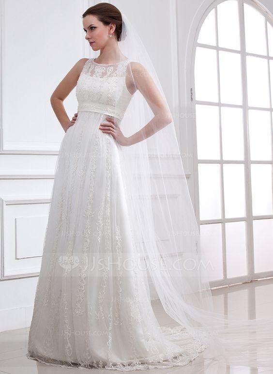 Vestidos princesa/ Formato A Decote redondo Sweep/Brush trem Cetim Tule Vestido de noiva com Renda Bordado (002004543)