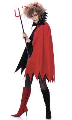 burda style, Schnittmuster für Halloween - Teufelin:  Das knielange Cape hat Zacken an Kragen und Saum