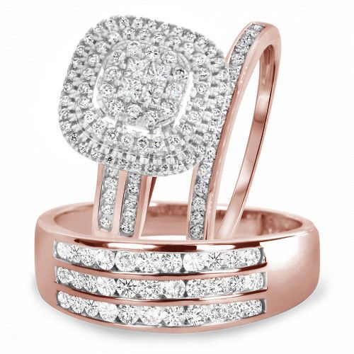 Rose Gold Over Trio Wedding Diamond Men Women Engagement Bridal Ring Set Beijoje Rose Gold Wedding Ring Sets Wedding Rings Sets Gold Wedding Rings Rose Gold