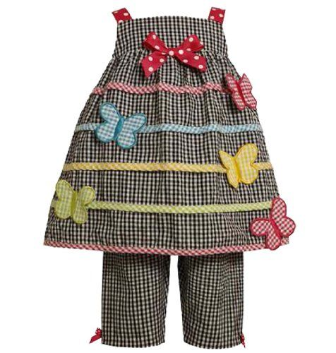 Size-24M, Black/White, BNJ-7536R, 2-Piece Multicolor Butterfly Applique Seersucker Capri-Pants Set,Bonnie Jean Baby-Infant Party Dress « Clothing Impulse