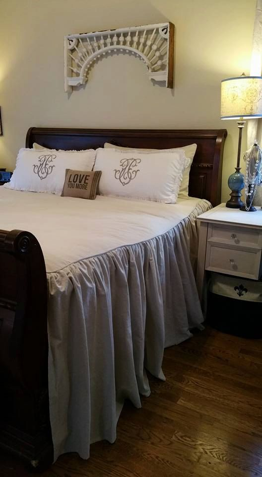 King size 100 cotton dropcloth bedding like joanna for Joanna gaines bedroom designs