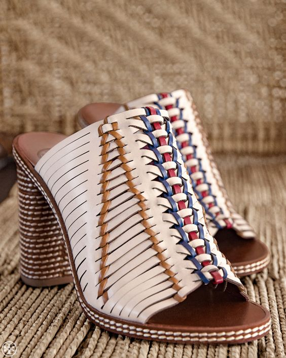 Gorgeous Tory Burch mules inspired by basket weaving techniques