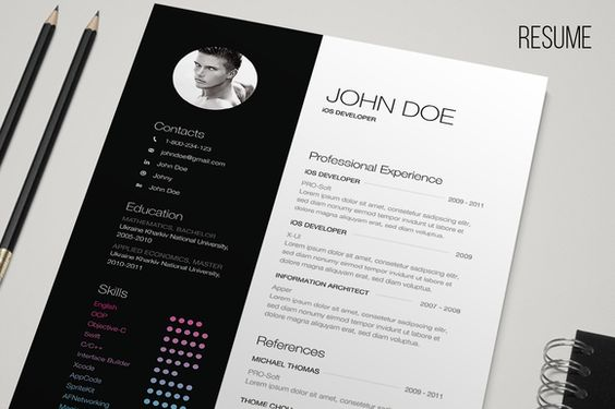 b w resume creative colors and minimalist design