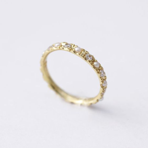 Eternity ring 18k gold and pearls on pinterest for Pearl engagement ring with wedding band
