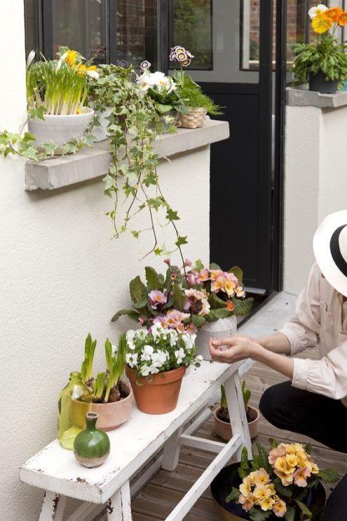 Comment Faire De Scomment Faire De Son Balcon Un Petit Jardin Des Pots De Fleurs Sur Un Banc Balcony Garden Ideas Jardins Petit Jardin Jardinerie Truffaut