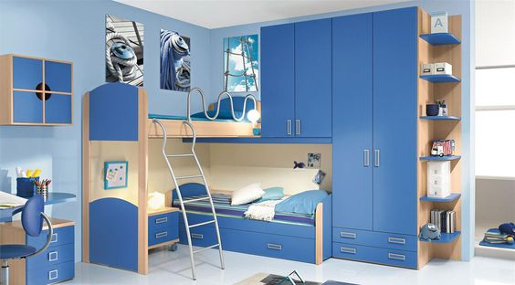 exciting kids bedroom interior design with blue painting. Black Bedroom Furniture Sets. Home Design Ideas