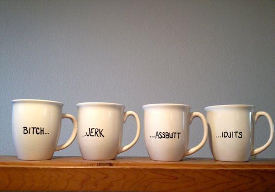 Supernatural themed mug set from MorningSnark on Etsy   $35 for all 4