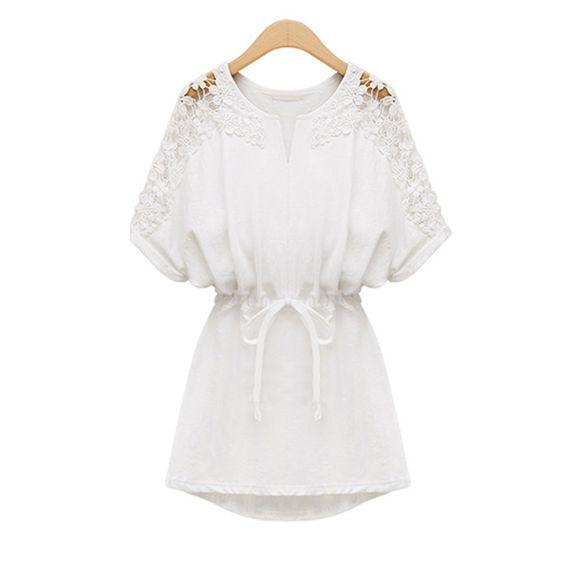 Va Plus Size rendas vestido de algodão solto branco Mini Vestidos tamanho grande Vestidos roupas XXL XXXL 4XL 5XL 6XL em Vestidos de Roupas e Acessórios no AliExpress.com | Alibaba Group