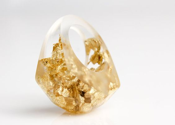 gold flake ring size 6.5 transparent eco resin by RosellaResin