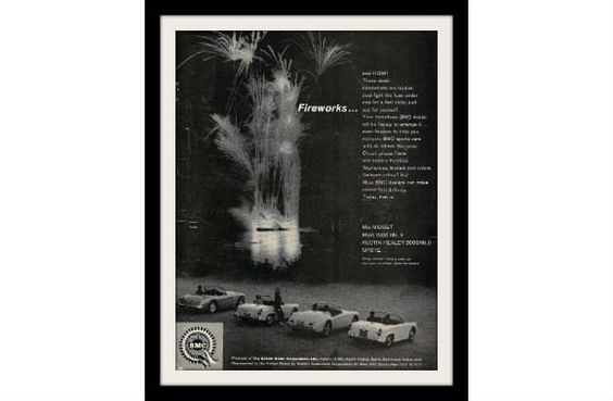"1962 MG Car & Austin Healey Sprite Ad ""Fireworks"" Vintage Advertisement Print"