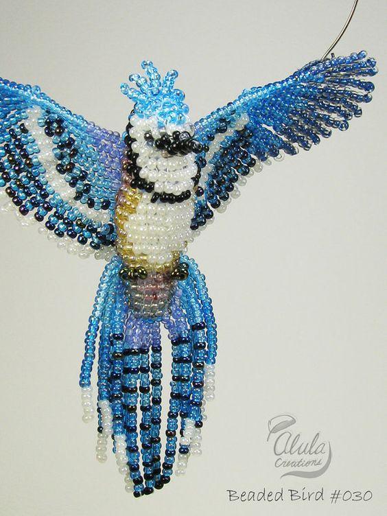 3d Beaded Bird Suncatcher Blue Jay Bird Necklace Window