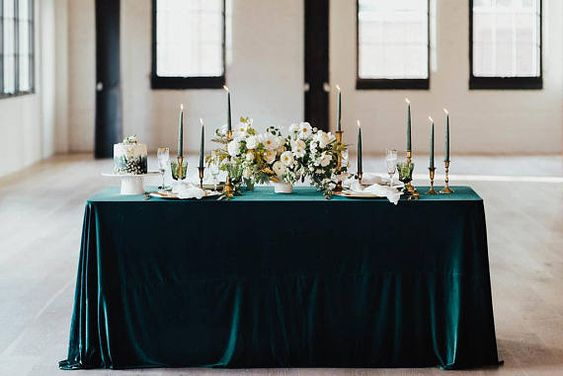 Emerald Velvet tablecloth velvet table runner Velvet