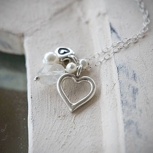 A beautiful vintage-inspired necklace with silver hearts, pearls and moonstone. £30.00
