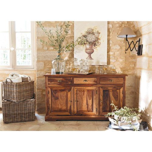 buffet en bois de sheesham massif teint luberon buffet. Black Bedroom Furniture Sets. Home Design Ideas