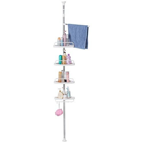 Hershii Shower Corner Caddy Tension Pole 4 Tier Bathroom Storage