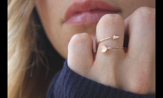 Pfeil+Ring,+rosegold+pfeil+Ring,+Verstellbar+ring+von+Superarmband+auf+DaWanda.com