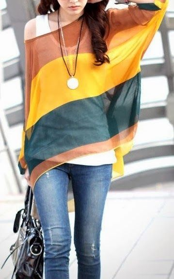 Fashion Bohemia Women Colorful Striped Batwing Chiffon Loose T-Shirt Blouse Tops