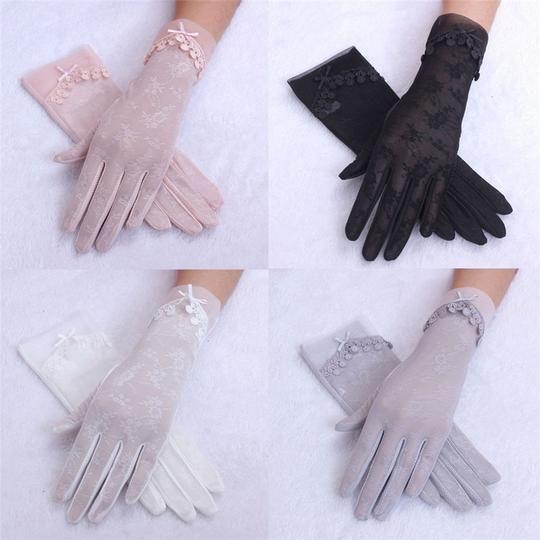 Women Pretty Ultraviolet-proof Lace Fingerless Gloves Summer Chiffon Mittens Gift