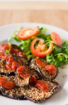 Almond-Crusted Baked Eggplant is a crunchy and delicious way to enjoy eggplant, topped with juicy marinara sauce! #vegan #meatless #meatless...