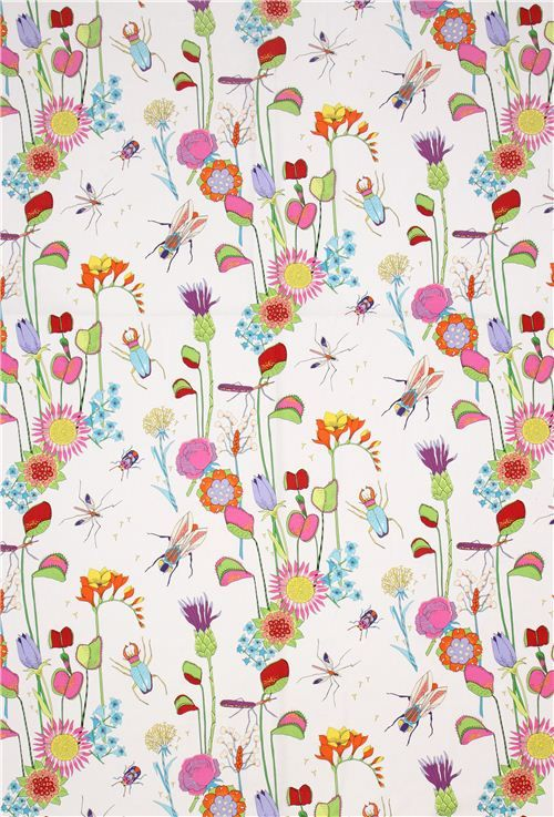 white Insect flower fabric The Tropix Alexander Henry USA - Animal Fabric - Fabric - kawaii shop modeS4u