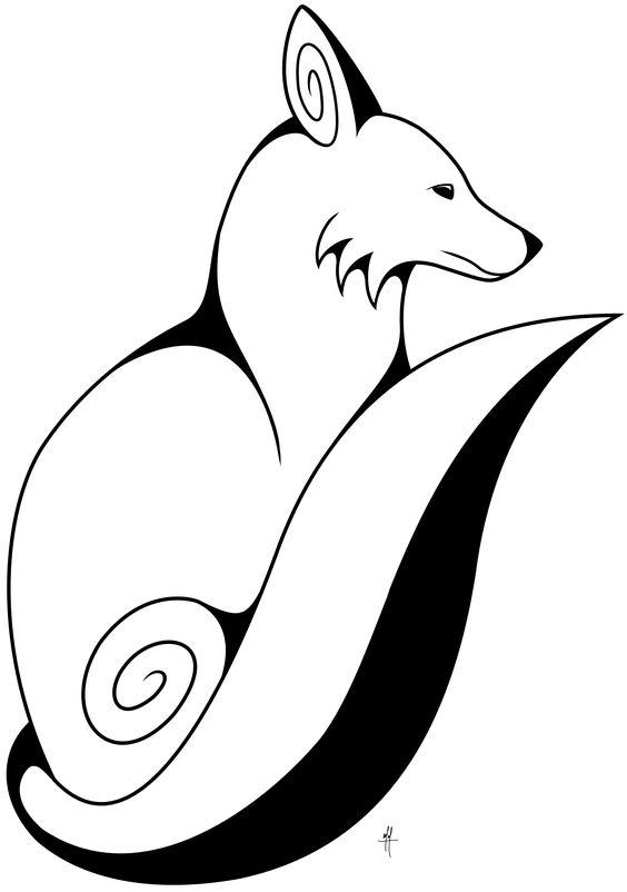 Swirly Fox Fox Drawing Drawings Fox Embroidery