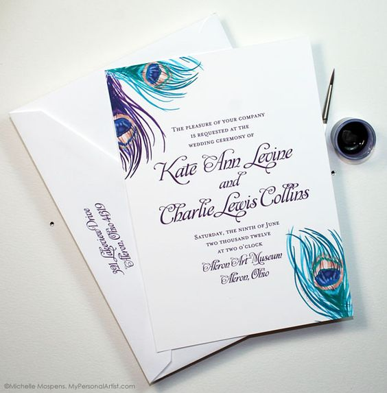 Vintage peacock feather wedding invitations by artist Michelle Mospens. MyPersonalArtist....