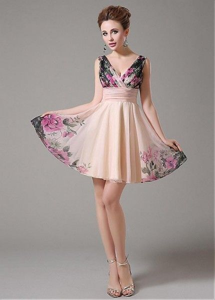 Elegant Printed Chiffon V-neck Floral Cocktail Dress