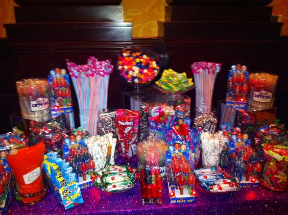 Glow In The Dark Candy Buffet Candy Bar with lots of...