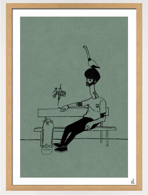 Werk: Sebastian (31) hat nen Vogel.  Größe: 50x70 cm Herstellung: Acryl auf strukturiertem Papier.