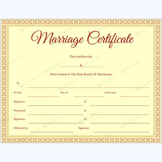 Editable Marriage Certificate Template Marriage Certificate