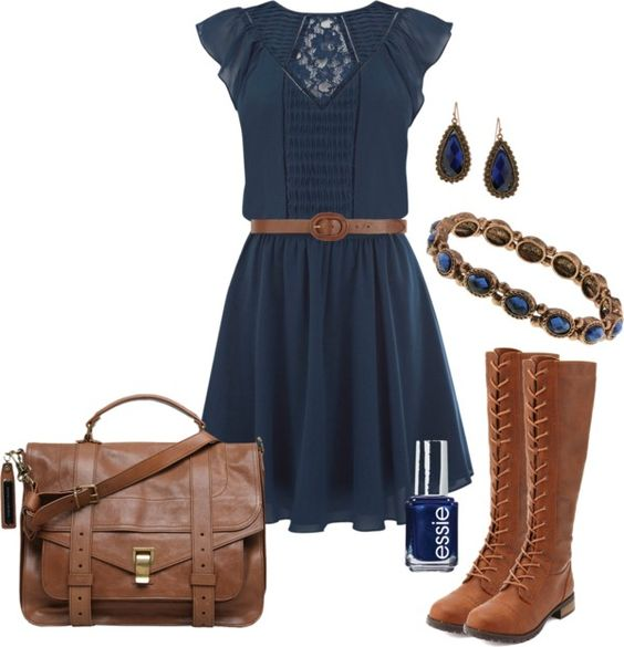 """""""cute Navy Dress & Boots"""" By Elizabethdawes On Polyvore"""