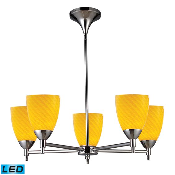 Celina LED 5-Light Chandelier in Polished Chrome and Canary Glass