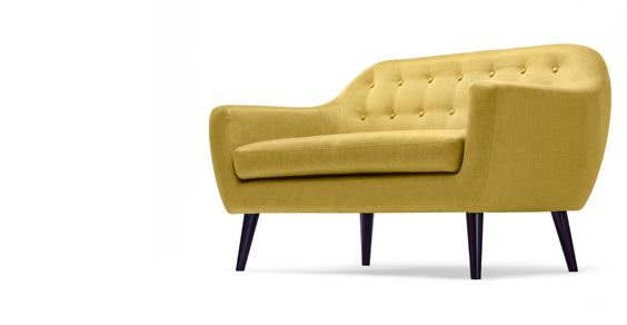 The Ritchie 2 seater Sofa in ochre yellow adds Danish inspired style with bonus colour pop.