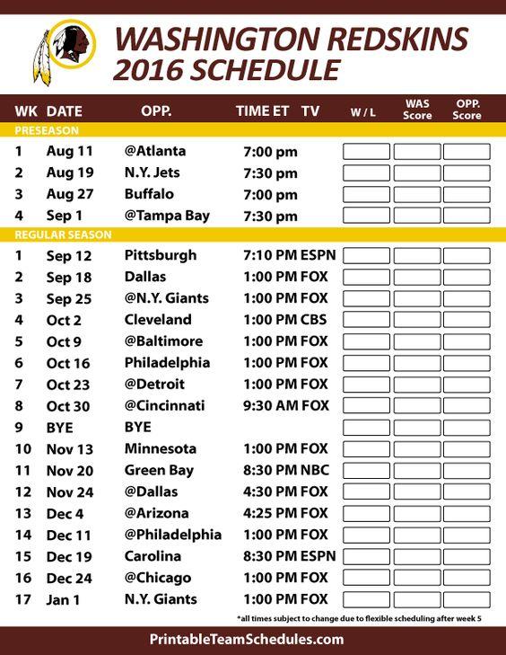 Washington Redskins 2016 Football Schedule. Print Schedule Here - http://printableteamschedules.com/NFL/washingtonredskinsschedule.php