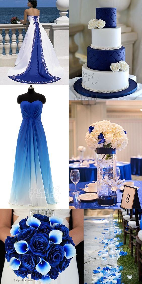 Charming sweetheart natural floor length ombre chiffon for Wedding dresses with royal blue accents