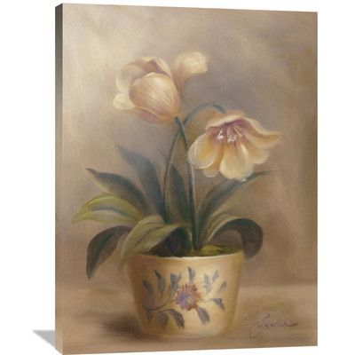Global Gallery 'Olivia's Flowers II' by Cheovan Original Painting on Wrapped Canvas Size: