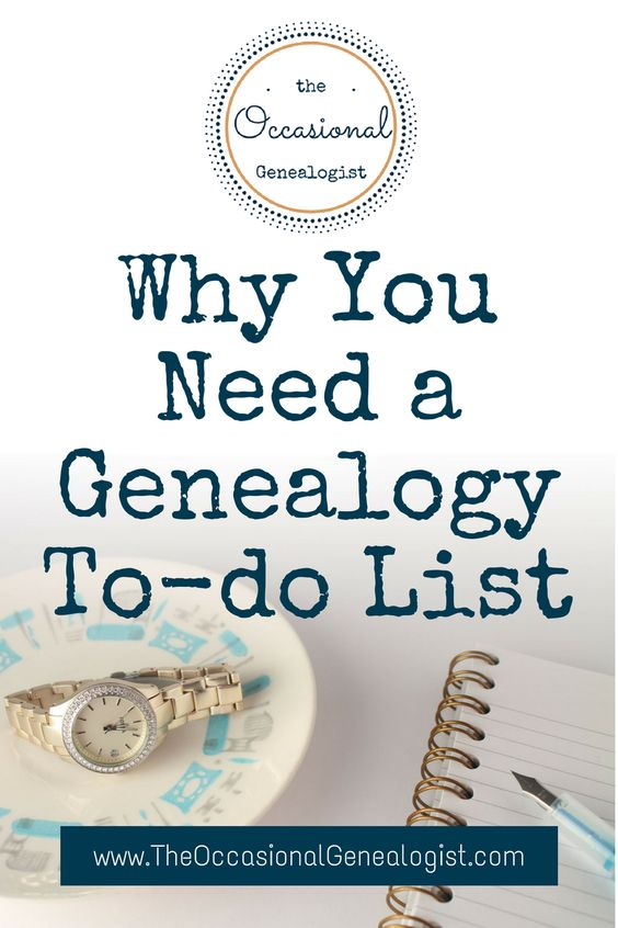 Why You Need a Genealogy To-do List The Occasional Genealogist pinnable Pinterest graphic
