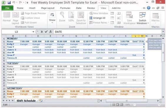 Free Excel Template for Employee Scheduling - Work Pinterest - shift schedule template