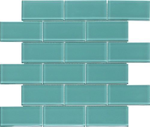 Subway Glass Tile Turquoise 2x4 Mesh Mounted On A 12x12 Fiberglass Sheet For An Easy Installation Upgrade Y Glass Subway Tile Trendy Bathroom Tiles Glass Tile