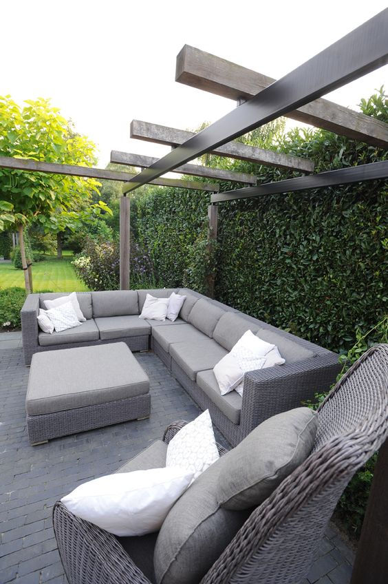 Tuinmeubelen pergola houten pergola lounge set lounge meubels - Tuinmeubelen buiten ...