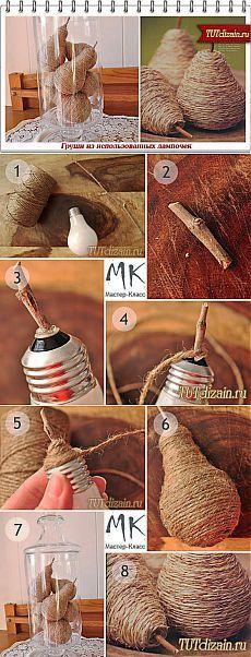 """Pear de lâmpadas usadas com as mãos + """"Projeto & amp;  Decoração com as mãos"""