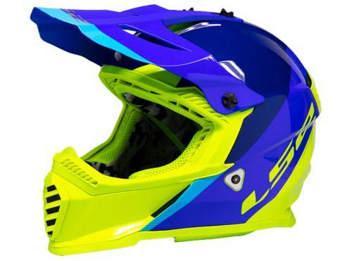Ls2 Mx Gate Youth Helmet 437 Launch Blue Hi Viz Size Large Ls2 Motocross In 2020 Helmet Bike Helmet Dirt Bike Helmets