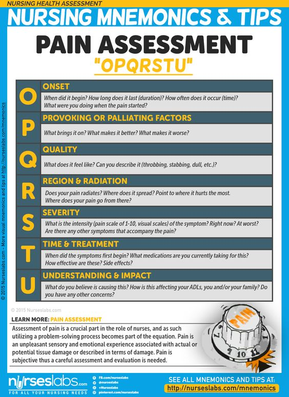 "Pain Assessment: ""OPQRSTU"" Assessment of pain is a crucial part in the role of nurses, and as such utilizing a problem-solving process becomes part of the equation. Nursing Health Assessment Mnemonics & Tips: http://nurseslabs.com/nursing-health-assessment-mnemonics-tips/"