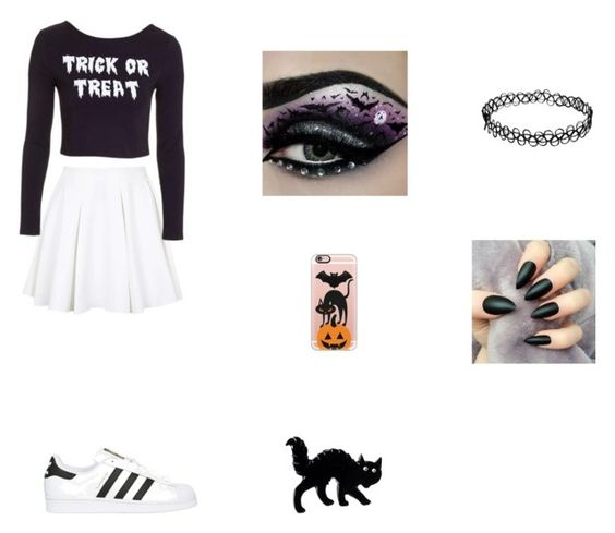 """""""Halloween!!"""" by marissa-ch ❤ liked on Polyvore featuring adidas Originals, Topshop and Casetify"""