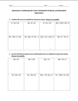 Worksheets Combining Like Terms And Distributive Property Worksheet combining like terms distributive property and assessment on this worksheet gives students the opportunity to review property