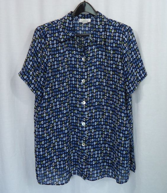 Womens Plus IMPRESSIONS Sheer Multi-Color Floral Button Front Blouse Top SZ 16W #Impressions #Blouse #CareerCasual